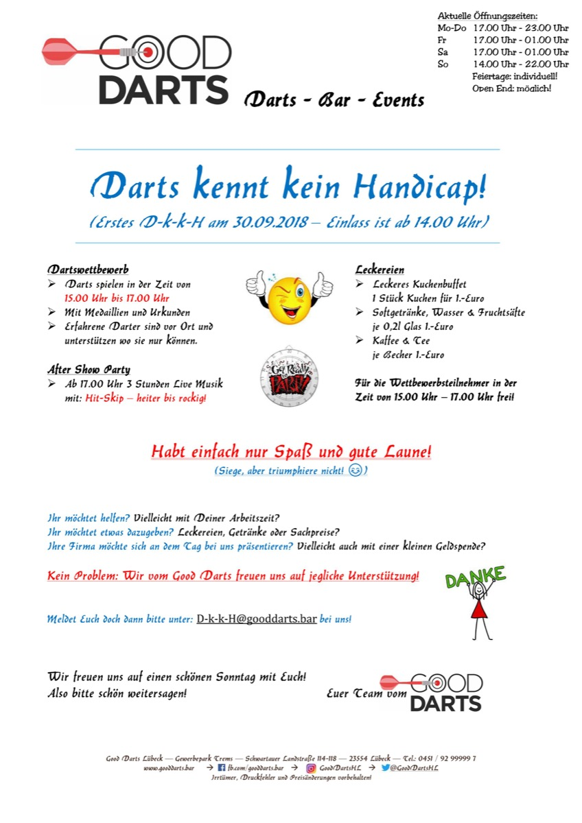 Flyer Darts kennt kein Handicap
